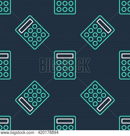 Line Password Protection And Safety Access Icon Isolated Seamless Pattern On Black Background. Secur