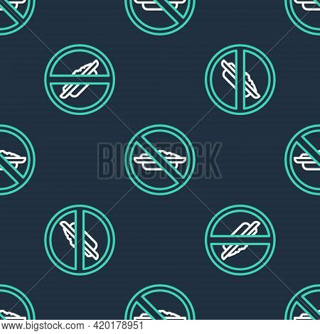 Line Food No Diet Icon Isolated Seamless Pattern On Black Background. Healing Hunger. Vector