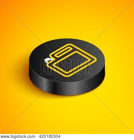 Isometric Line Canister For Motor Machine Oil Icon Isolated On Yellow Background. Oil Gallon. Oil Ch