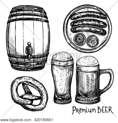 Beer In Pint And Keg With Sausage And Pretzel Sketch Decorative Icon Set Isolated Vector Illustratio