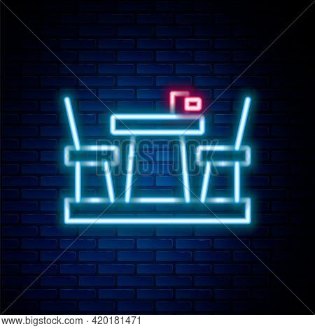 Glowing Neon Line French Cafe Icon Isolated On Brick Wall Background. Street Cafe. Table And Chairs.
