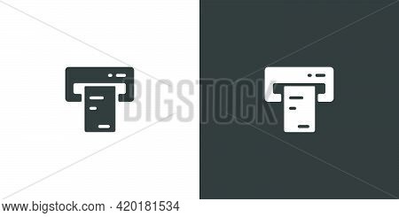 Ticket Vending Machine. Insert And Purchase. Isolated Icon On Black And White Background. Commerce G