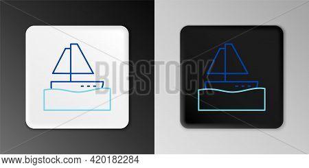 Line Yacht Sailboat Or Sailing Ship Icon Isolated On Grey Background. Sail Boat Marine Cruise Travel