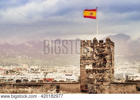 Sohail Castle In Fuengirola, Malaga Spain. Tourist Attraction, Place To Visit. Holidays On Costa Del