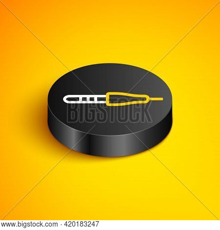 Isometric Line Audio Jack Icon Isolated On Yellow Background. Audio Cable For Connection Sound Equip