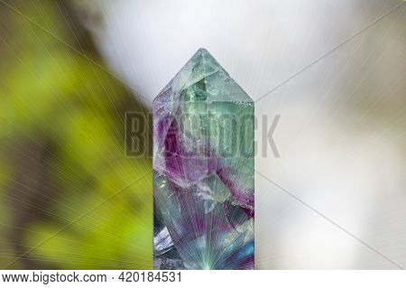 Magic Still Life With Gemstones Fluorite Crystal On Nature Background. Rocks For Mystic Ritual, Witc