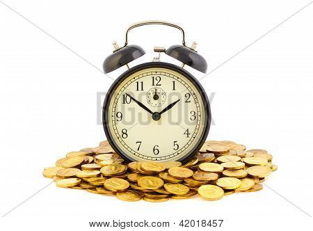 Beautiful Old Clock Staying On One Golden Coins. Time Is Money Concept Isolated On White Background.