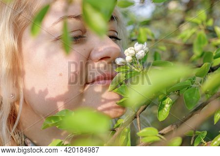 Close-up Portrait Of Middle-aged Blonde Woman, A Woman Sniffing The White Flowers Of A Blooming Appl