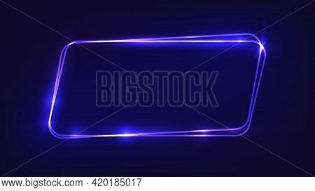 Neon Double Rounded Parallelogram Frame With Shining Effects On Dark Background. Empty Glowing Techn