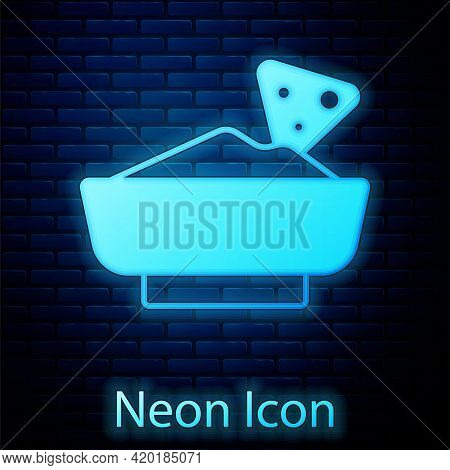 Glowing Neon Nachos In Bowl Icon Isolated On Brick Wall Background. Tortilla Chips Or Nachos Tortill