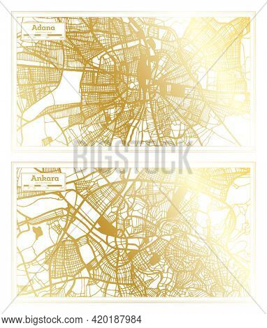 Ankara and Adana Turkey City Map Set in Retro Style in Golden Color. Outline Map.