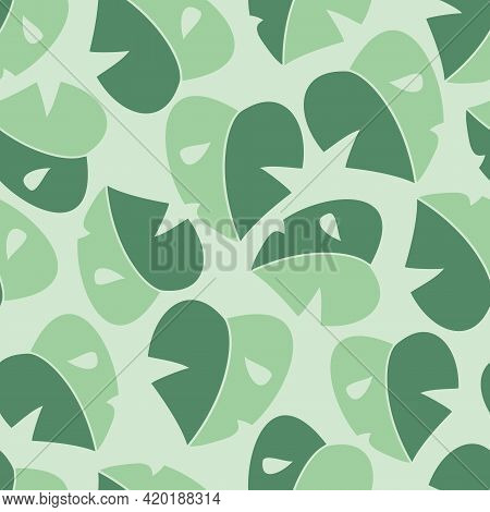 Vector Simplified Monstera Half Moon Leaves In Green Seamless Pattern Background. Perfect For Fabric