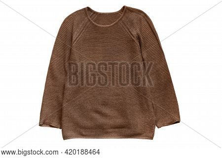 Brown Basic Knit Pullover Isolated Over White