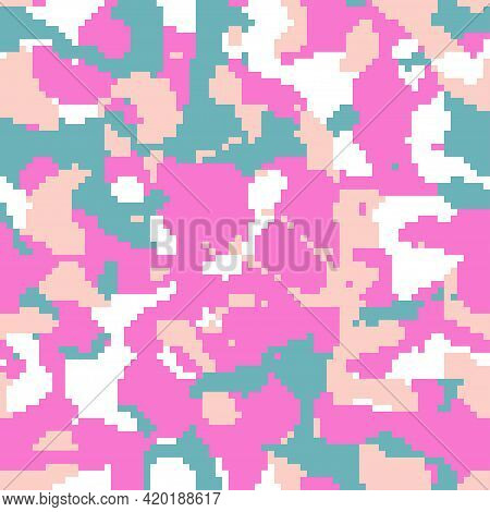 Digital Pixel Camo, Seamless Pattern For Your Design. Bright Pink And Emerald Coloring Camouflage, M