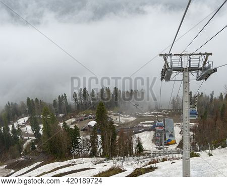 Sochi, Russia - May 4, 2021: Ski Resort, Built For The Sochi 2014 Olympics. Cable Car To The Top Of