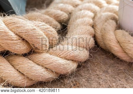 Rope Made Of Natural Coarse Sisal Fiber Obtained From The Leaves Of The Agava Sisolana Plant From Th