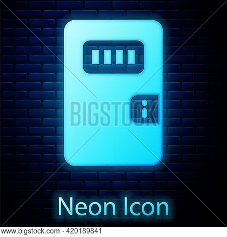 Glowing Neon Prison Cell Door With Grill Window Icon Isolated On Brick Wall Background. Vector