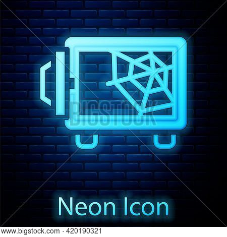 Glowing Neon Safe Icon Isolated On Brick Wall Background. The Door Safe A Bank Vault With A Combinat