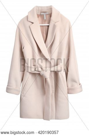 Cashmere Women's Coat Isolated On White. Pink Beige Woolen Jacket With Belt.