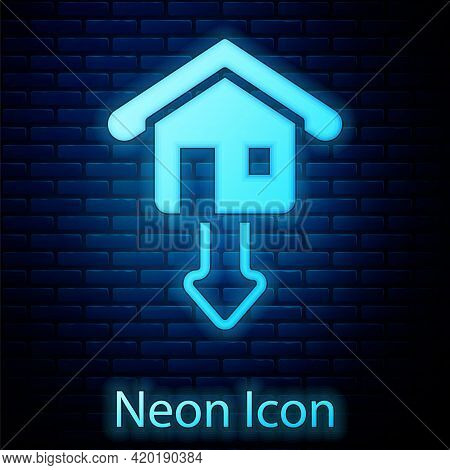 Glowing Neon Property And Housing Market Collapse Icon Isolated On Brick Wall Background. Falling Pr