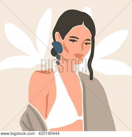 Hand Drawn Vector Abstract Stock Flat Graphic Contemporary Aesthetic Fashion Illustration With Bohem