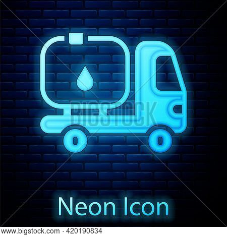 Glowing Neon Fuel Tanker Truck Icon Isolated On Brick Wall Background. Gasoline Tanker. Vector
