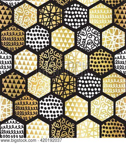 Gold White Black Patchwork Pattern On Hexagonal Tiles Seamless Vector Pattern. Repeating Abstract Ge