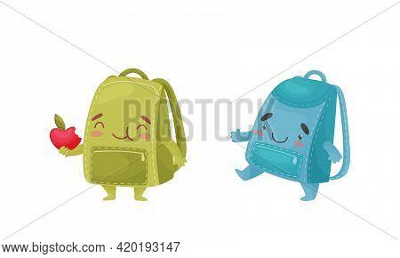 Cartoon Schoolbags Or School Rucksack Walking And Eating Apple Vector Set