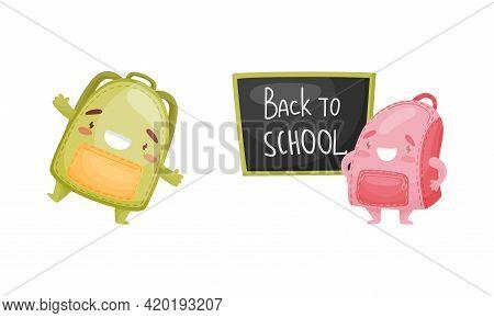 Cartoon Schoolbags Or School Rucksack Standing Near Blackboard And Dancing Vector Set