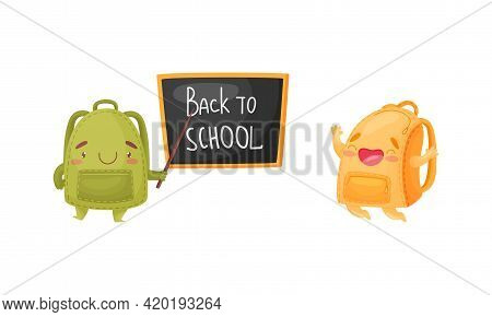 Cartoon Schoolbags Or School Rucksack Jumping With Joy And Standing Near Blackboard With Pointer Vec