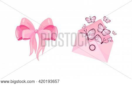 Ribbon Bow And Pink Envelope With Butterfly As Ballet Accessory Vector Set