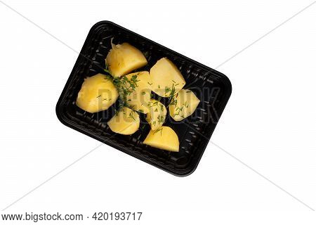Lunch Box With Boiled Potatoes. Food Delivery. Top View. Isolated. Plastic Container Take Away With