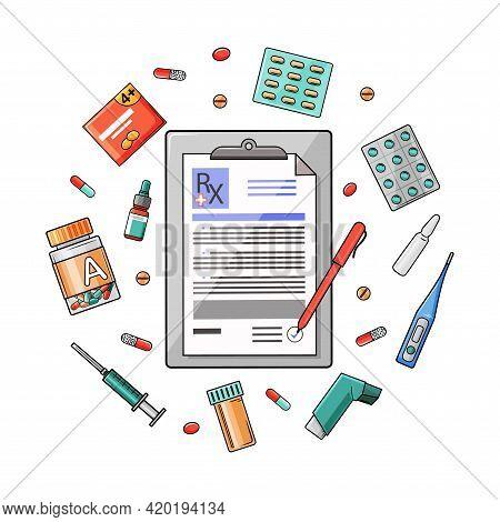 Doctor Prescription And Prescription Pills. Thermometer Medicine, Tablets, Medicines, Capsules, Clip