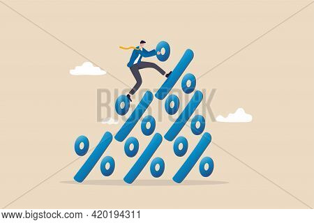 Financial Growth Profit, Sale Or Discount, Interest Rate Or Inflation Percentage Concept, Businessma