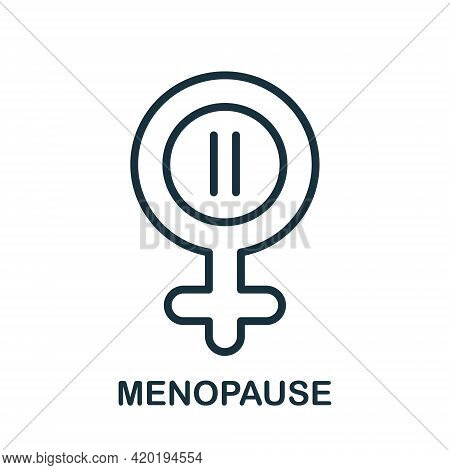 Menopause Line Icon. Symbol Of Menopause Period. Female Gender Line Icon With Menstrual Pause. Flat