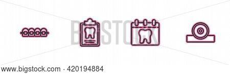 Set Line Teeth With Braces, Calendar Tooth, Dental Card And Otolaryngological Head Reflector Icon. V