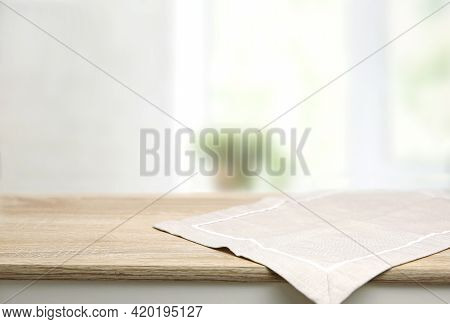 Empty Space Table Decorated With Beige Towel Food Advertisement Display. Tabletop With Advertisement