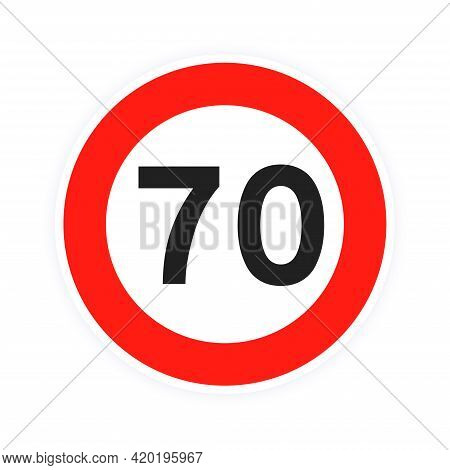Speed Limit 70 Round Road Traffic Icon Sign Flat Style Design Vector Illustration Isolated On White