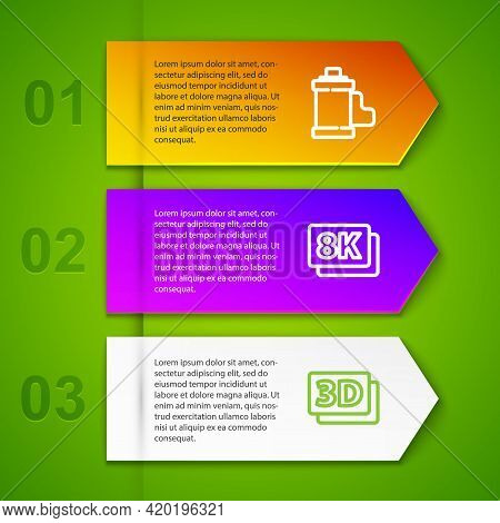 Set Line Camera Film Roll Cartridge, 8k Ultra Hd, 3d Word And Play Video. Business Infographic Templ