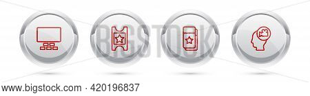 Set Line Cinema Auditorium With Seats, Ticket, And Head Camera. Silver Circle Button. Vector