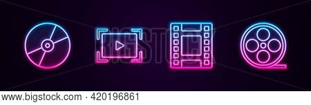 Set Line Cd Or Dvd Disk, Online Play Video, Play Video And Film Reel. Glowing Neon Icon. Vector