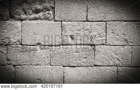 White Brick Wall, Texture Of Whitened Masonry As A Background. Close Up