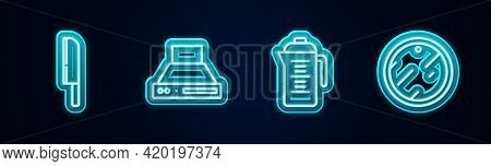 Set Line Knife, Kitchen Extractor Fan, Teapot And Cutting Board. Glowing Neon Icon. Vector