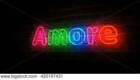 Amore Love Symbol Neon Light 3D Illustration