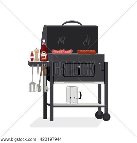 Vector Illustration Of Meat, Sauce, Grill And Other Items For A Barbecue Party In A Flat Style. Barb