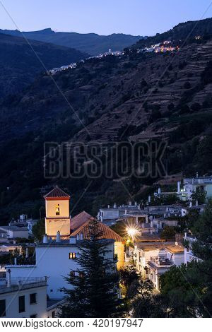 Capileira, Granada - September 01, 2020: View Of The White Village Of Pampaneira At Night In The Alp