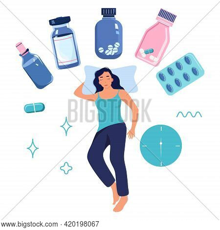 Woman Lying On Pillow And Trying To Calm Or Slumber.a Lot Of Capsules Against Sleep Disorder,stress