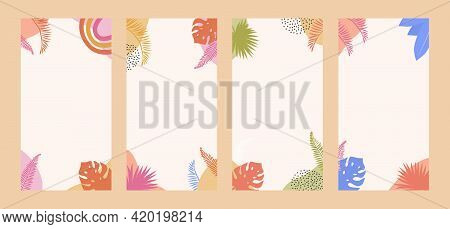 Bohemian Summer Sale Poster Template Set With Colored Tropical Palm Leaves And Abstract Shapes. Soci