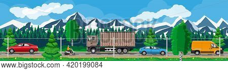 Suburb Road With Cargo Truck Trailer, Cars, Van And Motorbike. Road Over Mountains And Forest Landsc