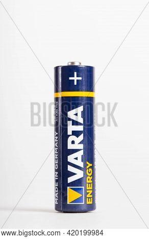 Bobruisk, Belarus 02.05.21: German Alkaline Batteries Varta, Close-up, Industry, Isolate